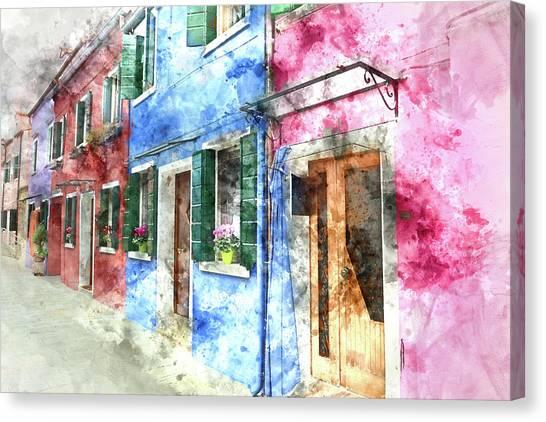 Burano Italy Buildings Canvas Print