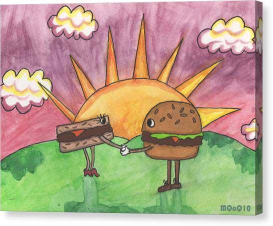 Burger And Patty Canvas Print by Michelley QueenofQueens
