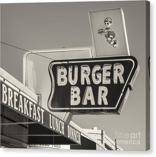 Burger Bar Bw Canvas Print