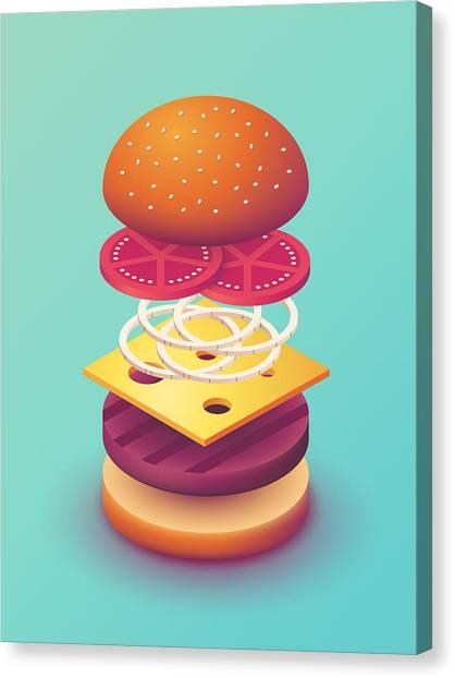 Hamburger Canvas Print - Burger Isometric Deconstructed - Mint by Ivan Krpan