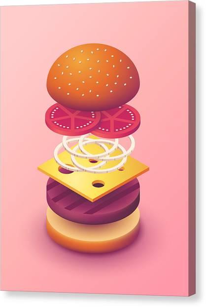 Hamburger Canvas Print - Burger Isometric Deconstructed - Salmon by Ivan Krpan