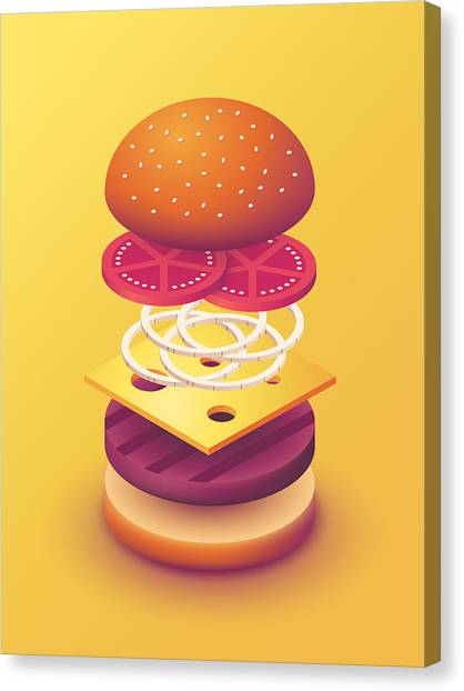Hamburger Canvas Print - Burger Isometric Deconstructed - Yellow by Ivan Krpan