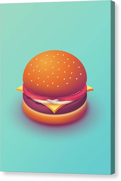 Canvas Print - Burger Isometric - Plain Mint by Ivan Krpan