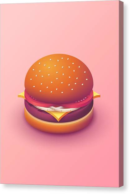 Hamburger Canvas Print - Burger Isometric - Plain Salmon by Ivan Krpan