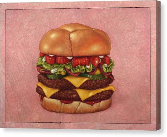 Meat Canvas Print - Burger by James W Johnson