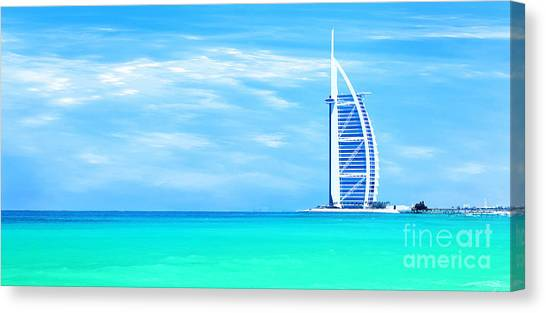 Burj Al Arab Hotel On Jumeirah Beach In Dubai Canvas Print