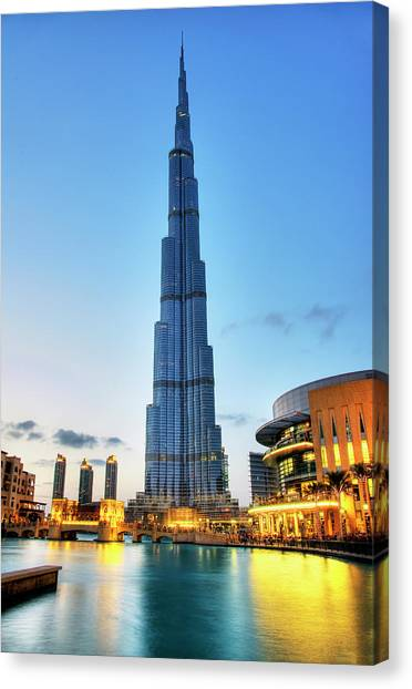 Dubai Skyline Canvas Print - Burj Khalifa Sunset by Shawn Everhart