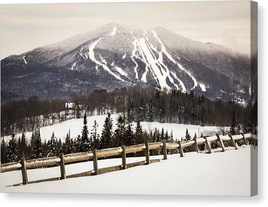 Burke Mountain And Fence Canvas Print