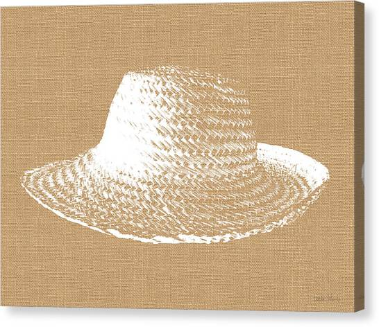 Sun Canvas Print - Burlap And White Sun Hat- Art By Linda Woods by Linda Woods