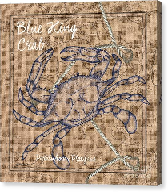 Crabs Canvas Print - Burlap Blue Crab by Debbie DeWitt