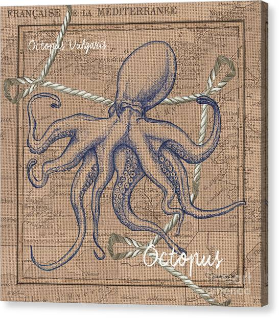 Pen And Ink Drawing Canvas Print - Burlap Octopus by Debbie DeWitt