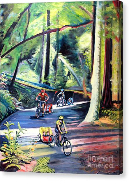 Burley Bike Parade On Shaver Grade Canvas Print by Colleen Proppe