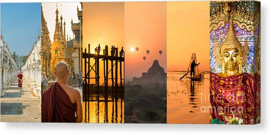 Myanmar Canvas Print - Burma Collage by Delphimages Photo Creations