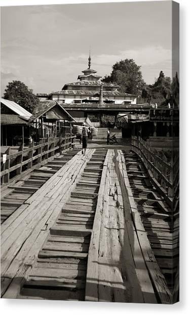 Burmese Wooden Bridge Canvas Print by Jessica Rose