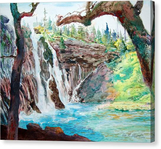 Burney Falls Canvas Print by John Norman Stewart