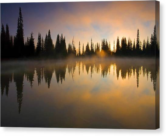 Lake Sunrises Canvas Print - Burning Dawn by Mike  Dawson