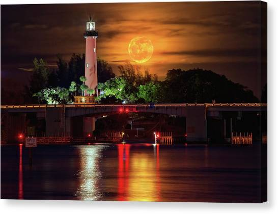 Burning Moon Rising Over Jupiter Lighthouse Canvas Print