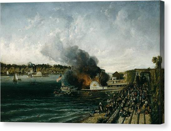 Sidewheelers Canvas Print - Burning Of The Sidewheeler Henry Clay by Ca 185460