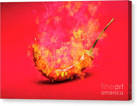 Mexican Canvas Print - Burning Red Hot Chili Pepper. Mexican Food by Jorgo Photography - Wall Art Gallery
