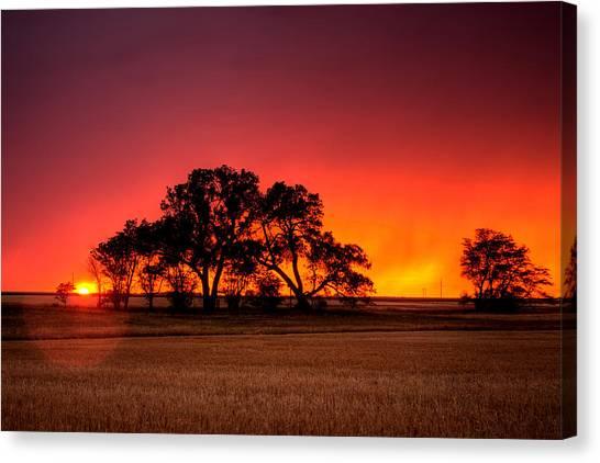 Prairie Sunsets Canvas Print - Burning Sunset by Thomas Zimmerman