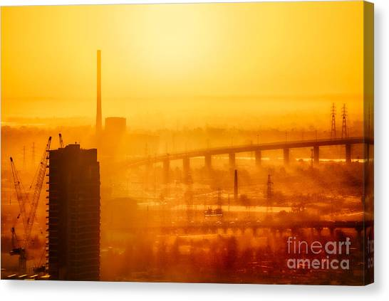 Canvas Print featuring the photograph Burning Sunset Through Smog by Ray Warren