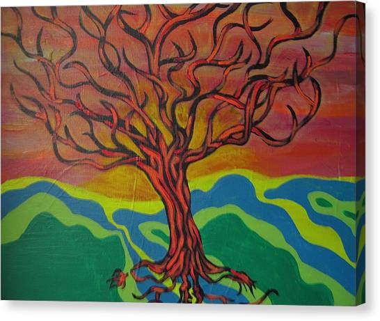 Burning Tree Canvas Print by Rebecca Jankowitz
