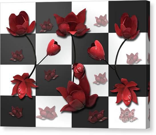 Burnt Crimson Flora Canvas Print