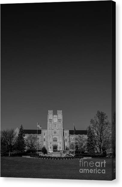 Virginia Polytechnic Institute And State University Virginia Tech Canvas Print - Burruss Hall by Clark DeHart