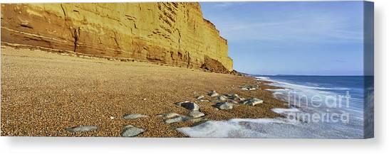 Cliff Burton Canvas Print - Burton Bradstock Beach by Rod McLean