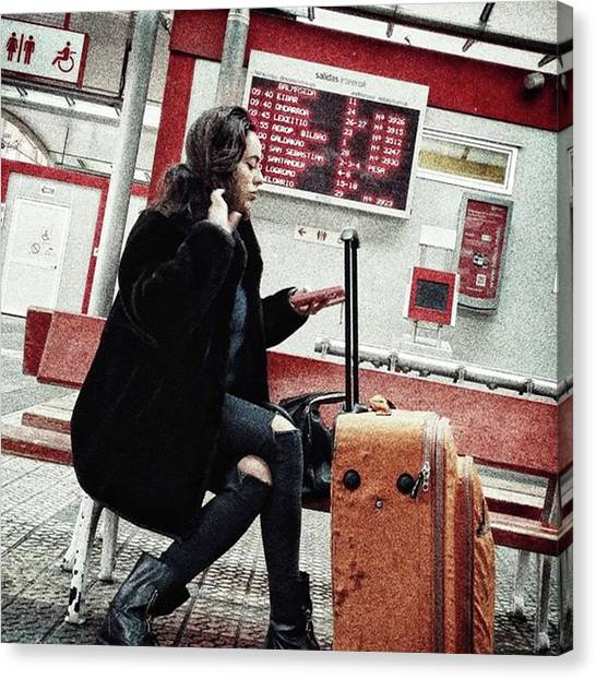 Women Canvas Print - Bus Station Girl #streetportrait by Rafa Rivas