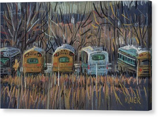 School Buses Canvas Print - Bus Storage by Donald Maier