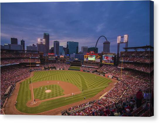 Busch Stadium St. Louis Cardinals Ball Park Village Twilight #3c Canvas Print
