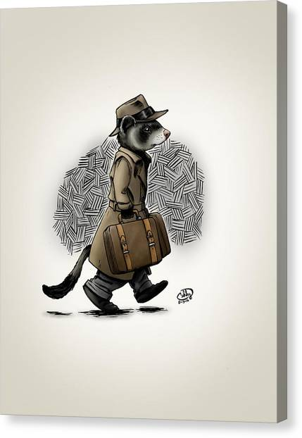 Black-footed Ferret Canvas Print - Business Trip by Brian Ashby