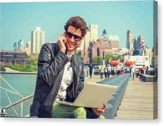 Businessman Enjoying Working Outside Canvas Print