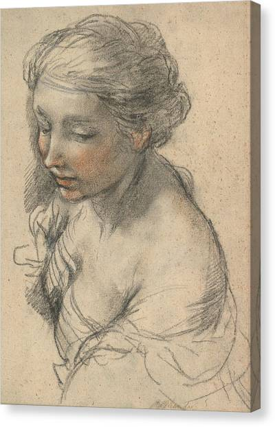 Baroque Canvas Print - Bust Of A Young Woman Turned To The Left by Pietro da Cortona