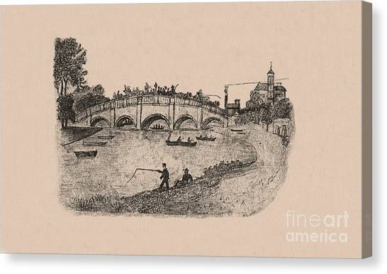 Busy Richmond Bridge And Fishermen Canvas Print