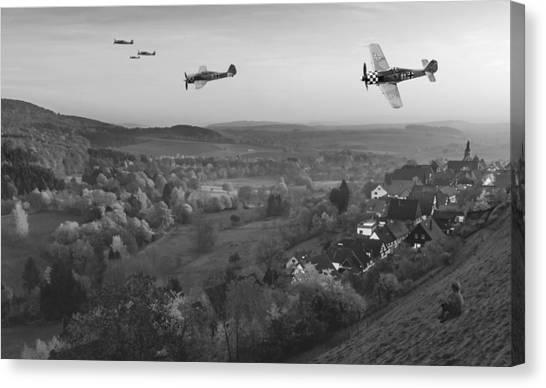 Luftwaffe Canvas Print - Butcher Birds In Fall - Bw by Mark Donoghue