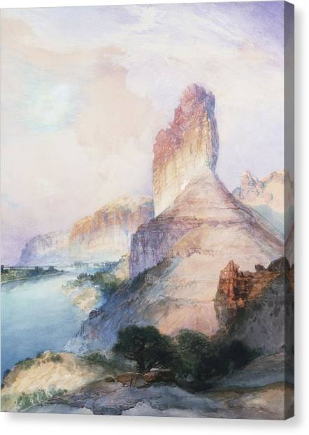 Wy Canvas Print - Butte Green River Wyoming by Thomas Moran