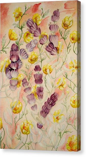 Buttercups And Lavendar Canvas Print