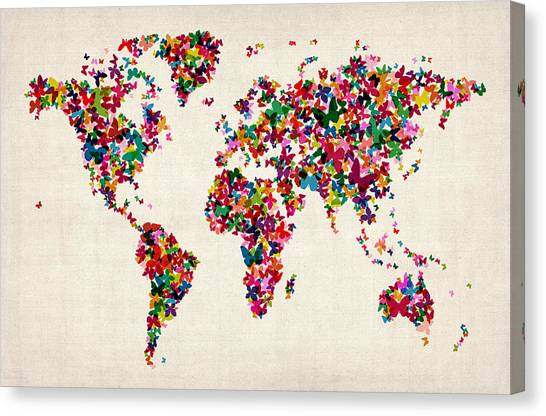 Cartography Canvas Print - Butterflies Map Of The World by Michael Tompsett