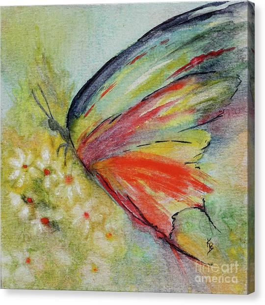 Canvas Print featuring the painting Butterfly 3 by Karen Fleschler