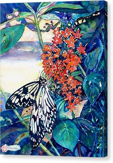 Butterfly At Mac Canvas Print by Norma Boeckler
