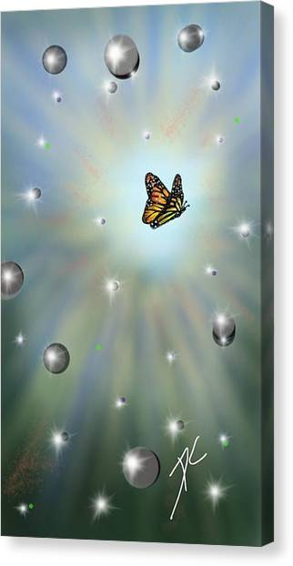 Canvas Print featuring the digital art Butterfly Bubbles by Darren Cannell