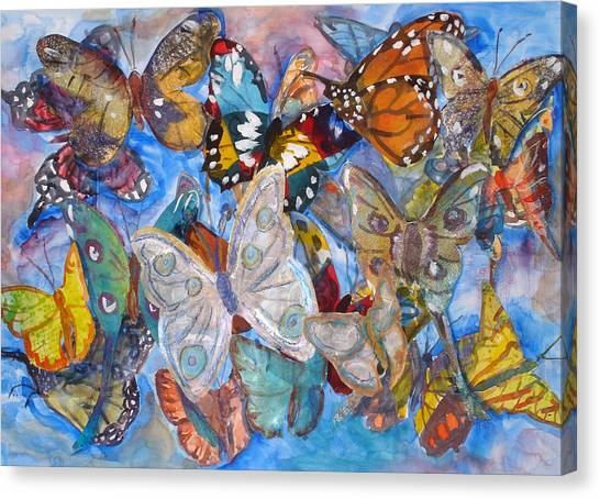 Butterfly Collage Canvas Print by Joyce Kanyuk