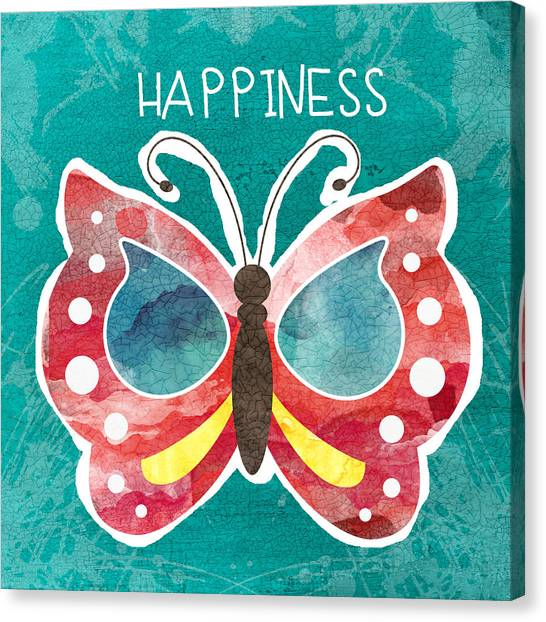 Yellow Butterfly Canvas Print - Butterfly Happiness by Linda Woods