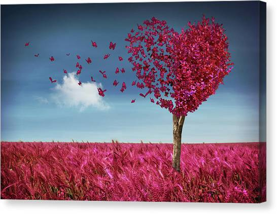 Butterfly Heart Tree Canvas Print