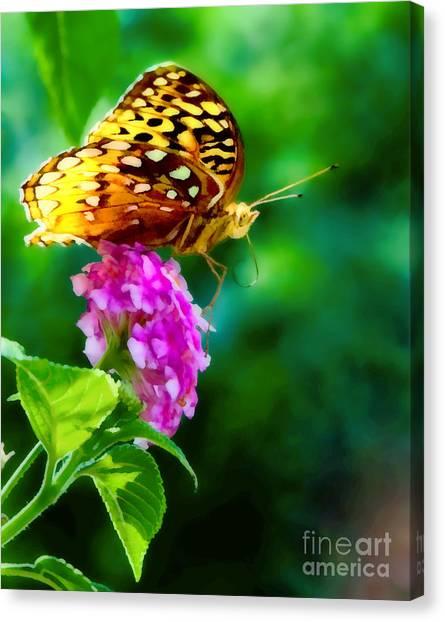 Butterfly Landing Canvas Print