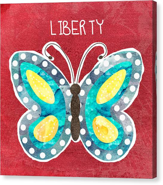 Yellow Butterfly Canvas Print - Butterfly Liberty by Linda Woods
