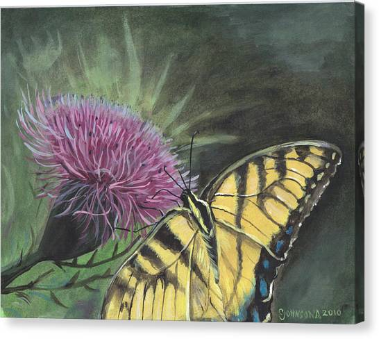 Butterfly On Thistle 2010 Canvas Print by Cheryl Johnson
