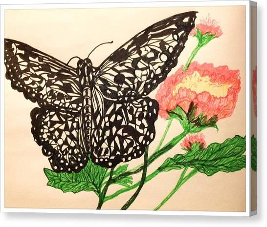 Border Wall Canvas Print - Butterfly Resting On Flowers by Debra Lynch